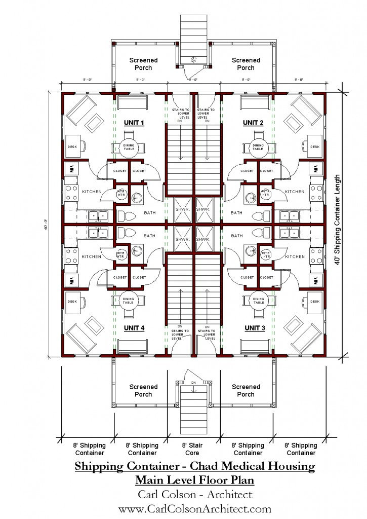 Shipping Containers - Chad Medical Housing Main Level Floorplan