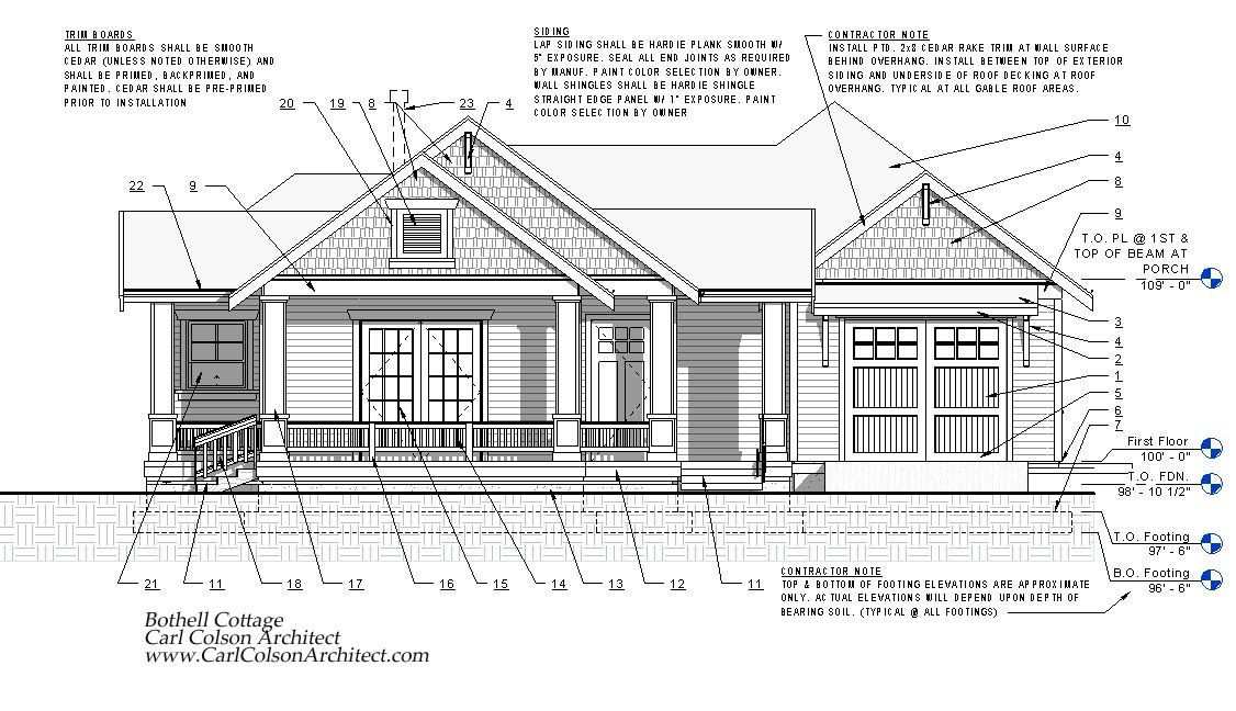 House Elevation Single Floor Drawing : Adu cottage creating the design drawings carl colson
